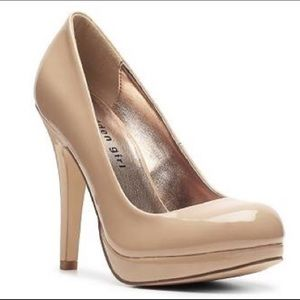 Madden girl patent leather nude beige pumps